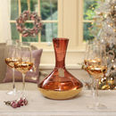 Amethyst Decanter And Set Of Four Gold Glasses