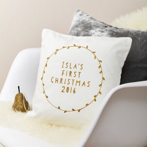 Personalised First Christmas Cushion Glitter Wreath - cushions