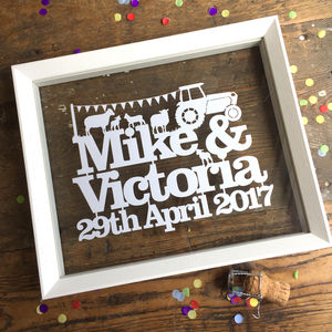 Personalised Wedding Or Anniversary Papercut - canvas prints & art