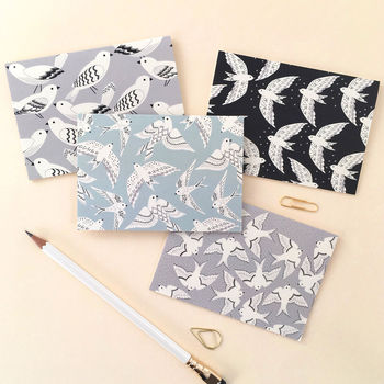 Multi Pack Gift Set Of Eight Bird Print Notecards