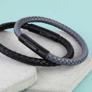 Men's Personalised Leather Bracelet With Matt Clasp - new in jewellery