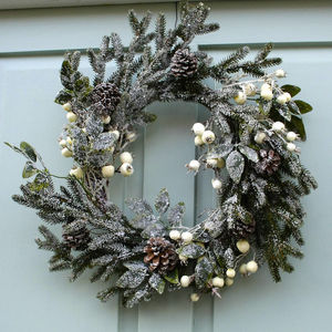 Snow Berry Fir And Pine Cone Wreath
