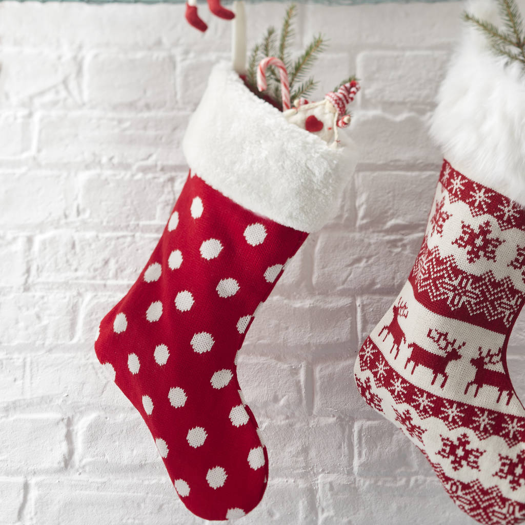 nordic spotty christmas stocking by the christmas home ...