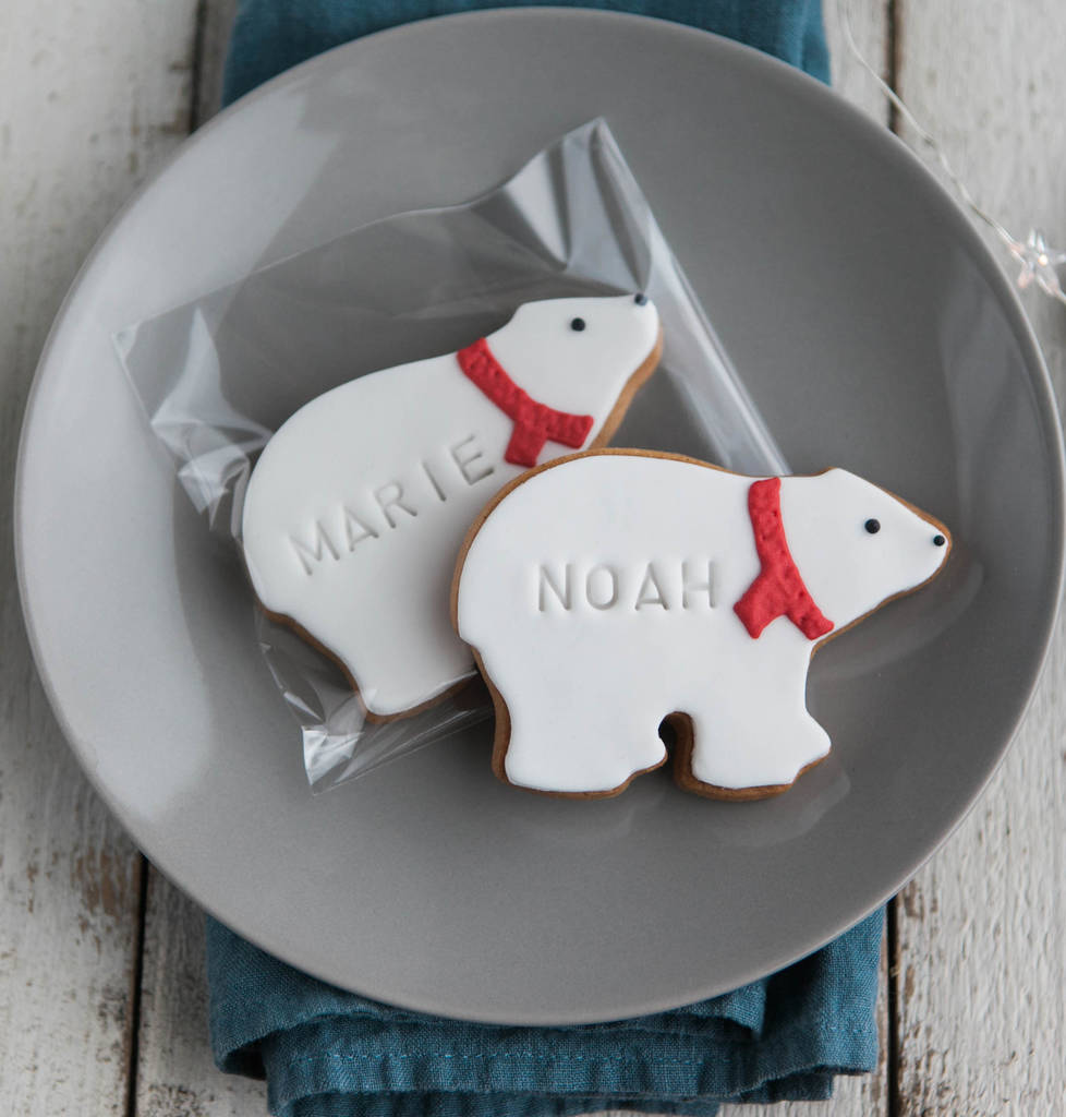Six Personalised Polar Bear Biscuits
