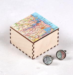 Personalised Map Silver Cufflinks And Cufflink Box