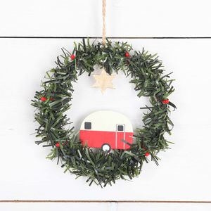 Caravan In Wreath Christmas Tree Decoration