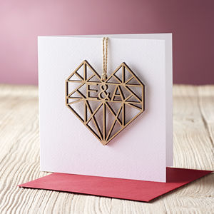Geometric Heart Valentine's Card - cards & wrap