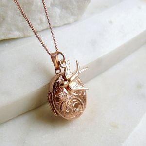 Personalised Rose Gold Locket Necklace With Swallow - necklaces & pendants
