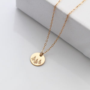 Botanical Gold Disc Necklace Forest