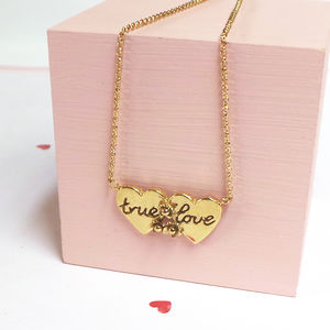 Gold Double Heart 'True Love' Necklace - gifts for her