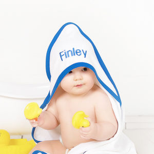 Personalised Blue Hooded Baby Towel