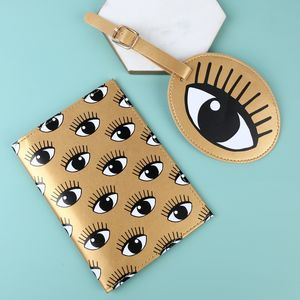 'Eyes On You' Passport Holder And Luggage Tag Set