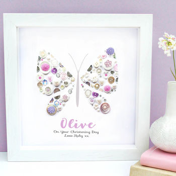 Personalised Christening Butterfly Framed Gift