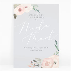Ella Pink And Grey Floral Wedding Welcome Sign