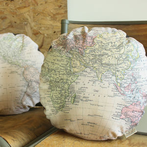 Vintage Globe Map Print Cushion