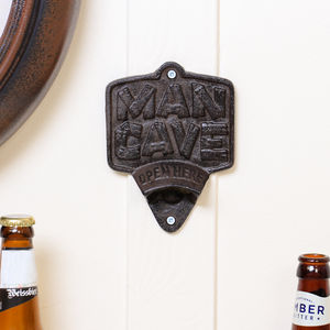 Man Cave Wall Mounted Cast Iron Bottle Opener - kitchen