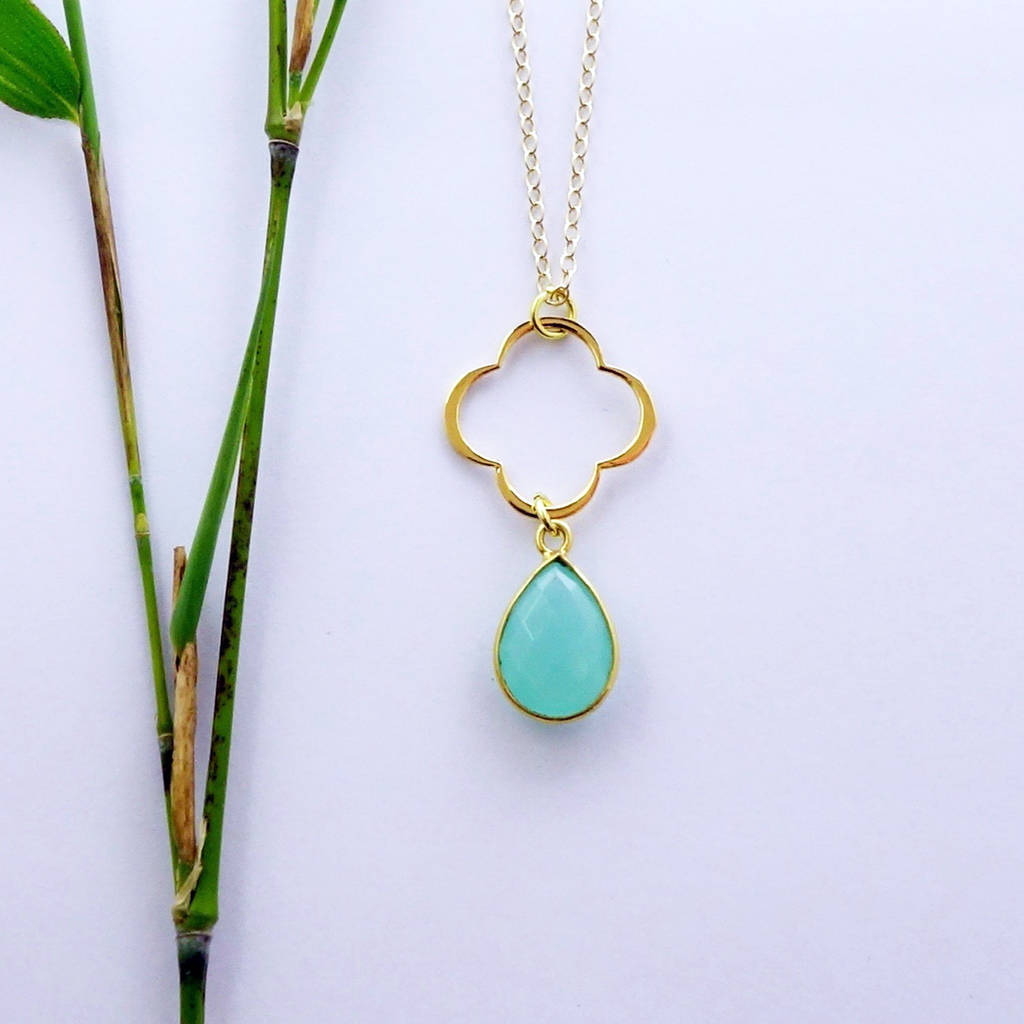 Aqua Chalcedony March Birthstone Necklace