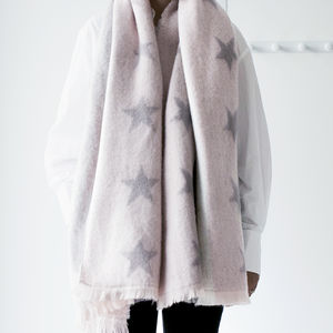 Silver Stars Oversized Blanket Scarf - gifts for her