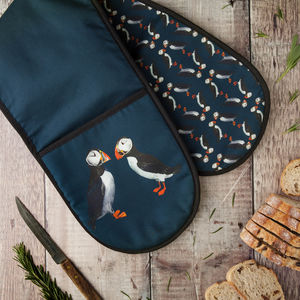 Pair Of Puffins Double Oven Glove