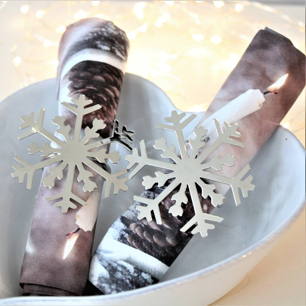 Set Of Two Silver Snowflake Napkin Rings By Ella James Notonthehighstreet Com