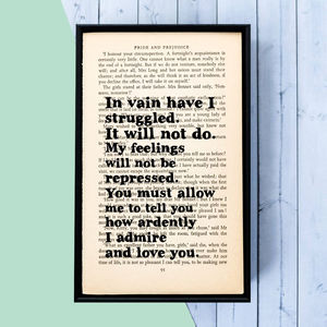 Pride And Prejudice 'In Vain…' Book Page Print