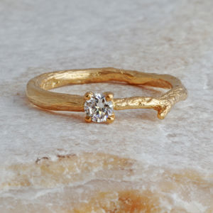 Gold And Diamond Solitaire Ring - jewellery
