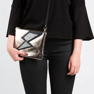Voltage Leather Lightning Bolt Clutch And Crossbody Bag - cross body bags