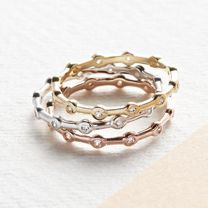 Precious Metal And Cubic Zirconia Stacking Ring Set - rings