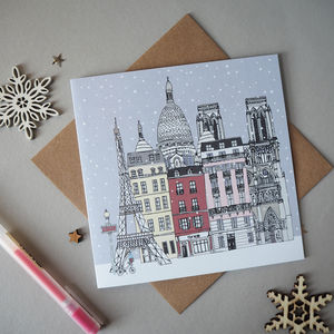 Paris Christmas Cards Set Of Five