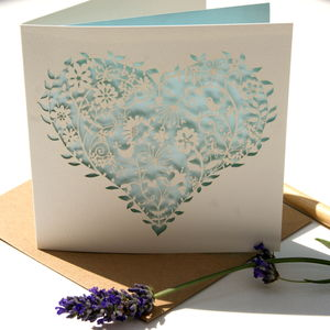 Heart Whimsical Laser Cut Aqua Card - wedding cards & wrap
