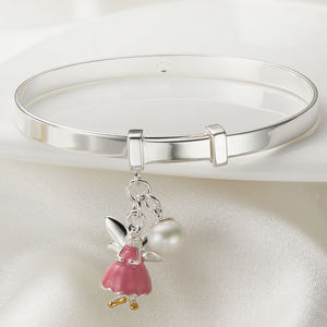 Personalised Pink Fairy Christening Bangle