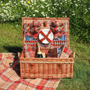 Personalised Amber Tartan Hamper For Four