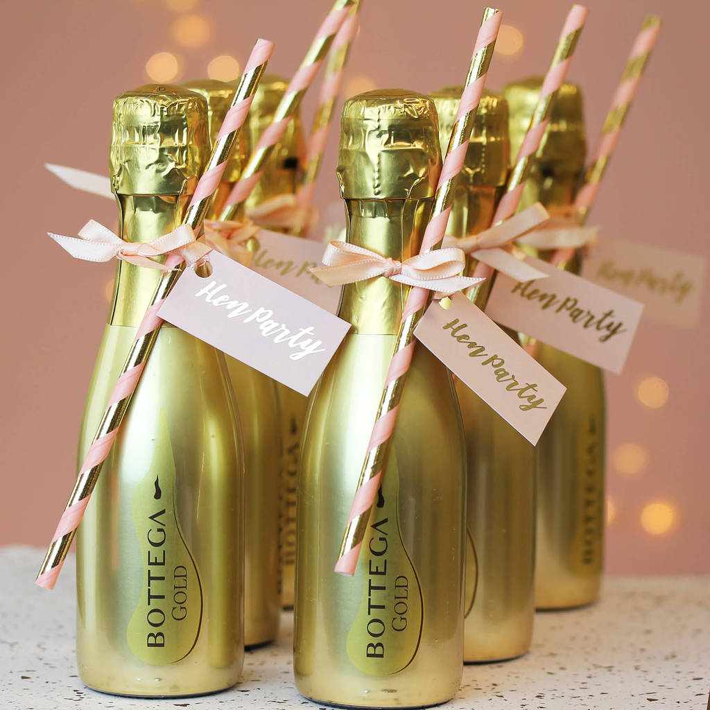 Hen Party Ideas For Small Groups: Hen Party Decorated Gold Prosecco Bottle By Hearth