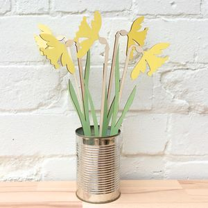 Wooden Sunny Daffodils - flowers, plants & vases