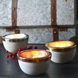 Copper, Steel And Gold Cement Tealight Holders - candles & home fragrance