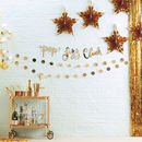 Pack Of Five Gold Star Confetti Clear Party Balloons