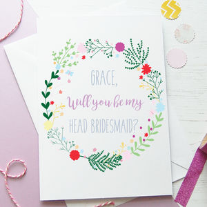 Botanical Will You Be My Head Bridesmaid Card