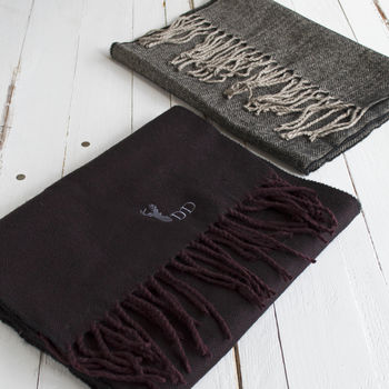 Personalised Men's Herringbone Stag Winter Scarf