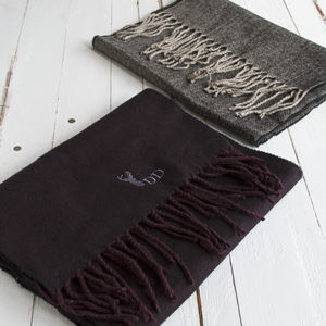 Personalised Men's Herringbone Stag Winter Scarf - scarves