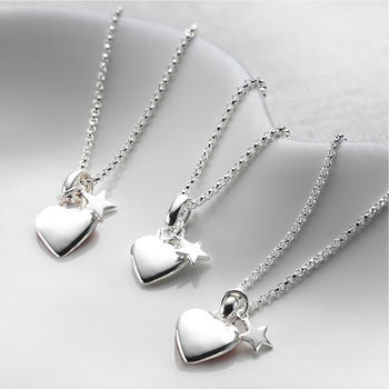 Georgia Sterling Silver Heart And Star Necklace