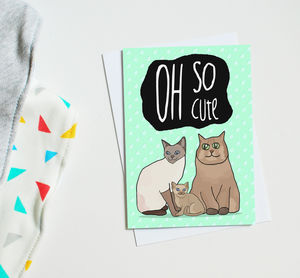 Cat Themed New Baby Card 'Oh So Cute' - shop by category