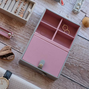 Dove Grey With Rose Travel Box - 50th birthday gifts