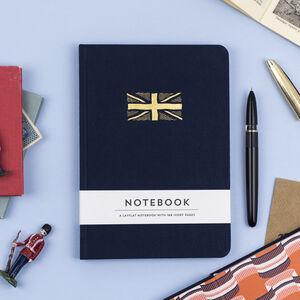 Union Jack Hardback Notebook In Navy Blue Fabric