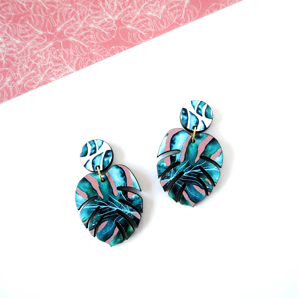 c921a2a15 tropical monstera earrings by mica peet | notonthehighstreet.com