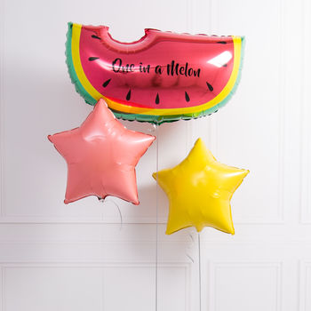 Inflated Personalised One In A Melon Foil Balloon Bunch