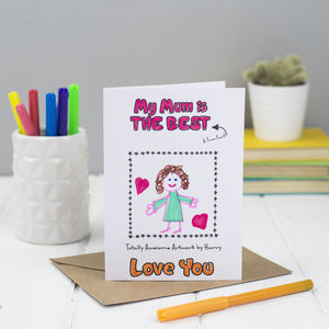 Personalised Happy Birthday Mum Colouring In Card