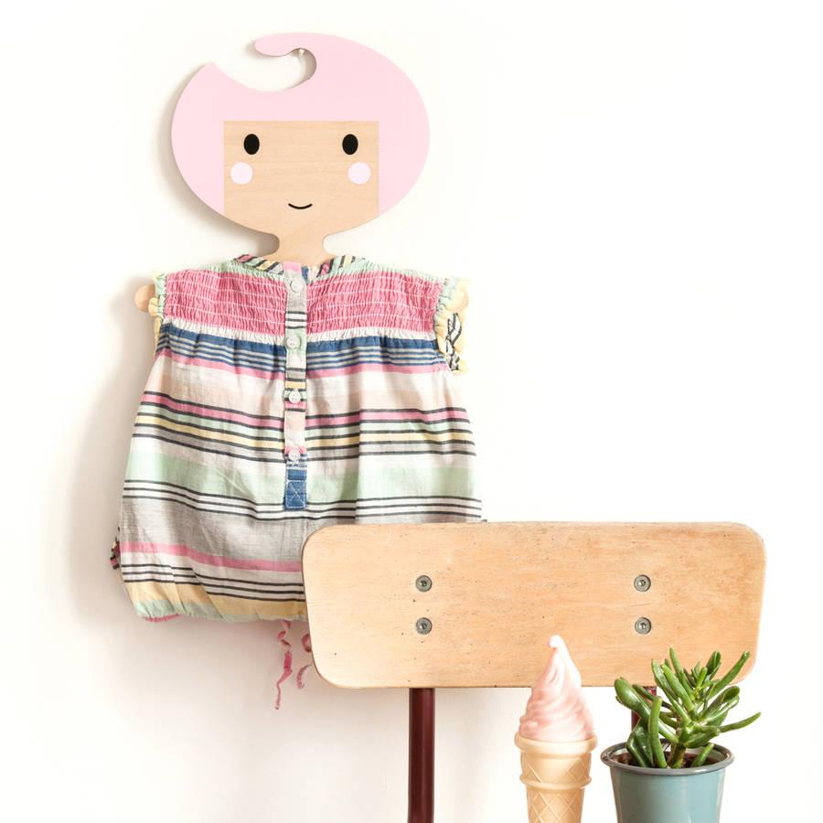 Child/'s Wooden Hangers with Girl/'s Faces  Wooden Hangers