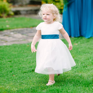 Lace And Tulle Flower Girl Dress With Coloured Sash