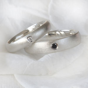 Diamond Ring Set In Frosted Silver - rings