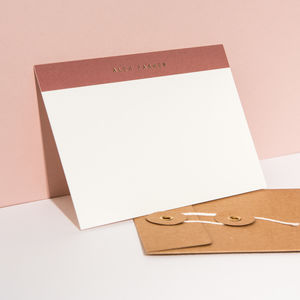 Foil Personalised Notecard, Landscape Terracotta Top